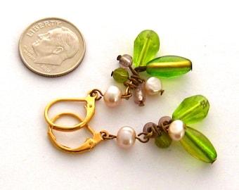Peridot Green Cluster Earrings, Freshwater Pearl, Crystal, Dangle