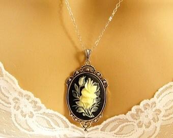 Rose Cameo Necklace, Victorian Black Cameo, Flower Black Cameo Necklace, Victorian Cameo Jewelry, Sterling Silver Chain
