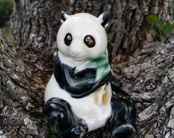 "CUTEY! Panda Bear Majolica Art Sculpture Collectible Porcelain Figurine China ~ 3 1/4""H X 2 1/2""W"