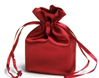 Large Burgundy Satin Gift Bag