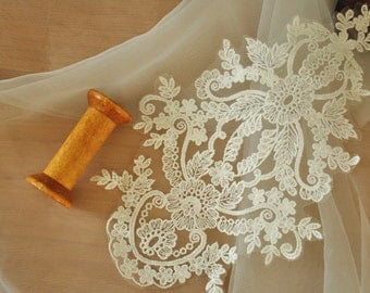 ivory lace applique for wedding gown veil, bodice , shrugs 2 pieces