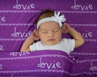 Personalized Swaddle Blanket with Scallops Print // Scallops and Dots // Gifts for Baby // Newborn Photo Prop // Best Swaddling Blanket