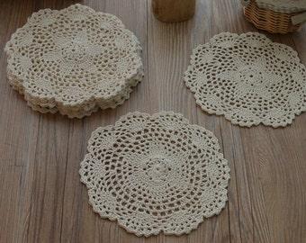 "Dozen 8"" Round Hand Crochet Pineapple Doilies Cotton Floral Wedding Coasters Table Placemats Lot"