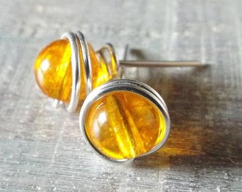 Citrine Stud Earrings, Yellow Stud Earrings, Citrine Jewelry, November Birthstone Jewelry, Earrings for Teen, Dark Yellow Earrings, Wire