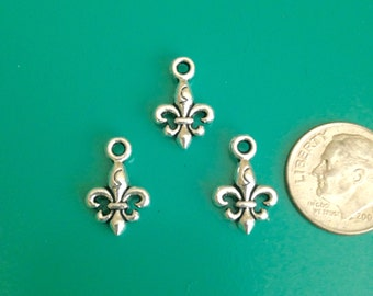 Fleur De Lis Charms Double Sided Tiny Charms Small Charms Small Fleur De Lis Charm 15x9mm Antique Silver Finish 16 pieces 6-17-AS