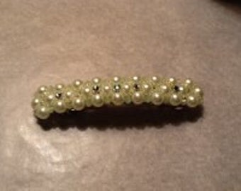 Light Green Beaded Barrette With Montes  4 inch Barrette