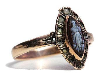 Antique Victorian Rose Gold Ring Jewelry 14k Cameo
