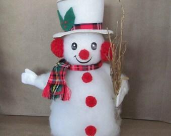 Vintage Christmas Snowman, 1970's Snowman Figurine, Vintage Handmade Snowman, Kitsch, 1970's Christmas Decor, Decoration, Mid Century
