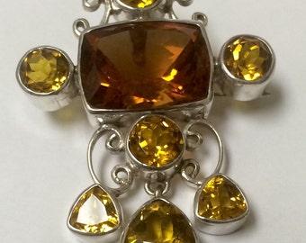 Genuine Gemstone CITRINE Sterling Silver Brooch