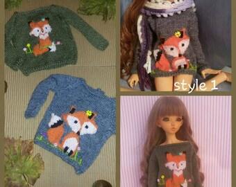 Fox sweater for Minifee, slim msd. Bjd pullover. Jumper for dolls.