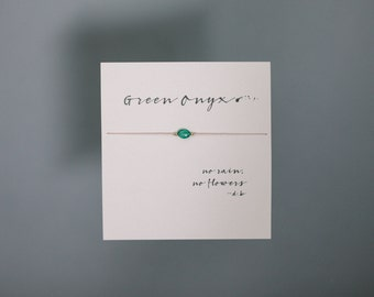 Friendship Bracelet - Green Onyx - Friendship Bracelet on Silk with 14k gold filled beads - Light Pink