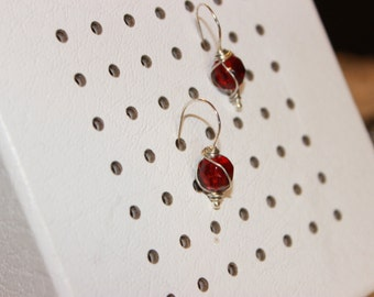 Crimson Red and Gold Earrings