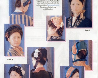 Late 1870s - Mid 1890s Victorian Bonnet in 4 Views Sewing Pattern # 63 by Lynn McMasters