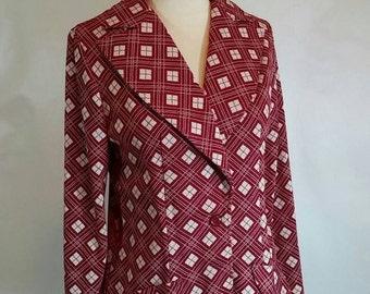 Retro '50s Red & White Windowpane Plaid Women's Polyester Sports Coat