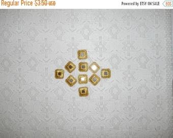 FABRIC SALE Vintage Embroidered Square Gold Mirror Applique Lot 10pcs