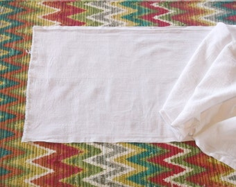 Vintage White Cotton Huck Towel Toweling Fabric 17x36
