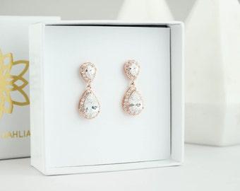 Rose Gold Earrings, Rose Gold Drop Earrings, Rose Gold Dangle Earrings, Rose Gold earrings, Bridal