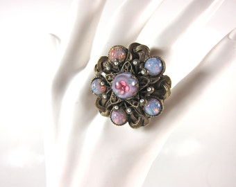 Vintage Sweet Romance Large Adjustible  Pink, Lavender And Blue Millefiore Glass And Seed Pearl Signed Adjustible Ring-Made In USA