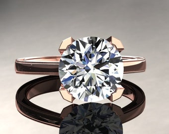 Moissanite Engagement Ring Moissanite Ring 14k or 18k Rose Gold Matching Wedding Band Available SW1MOISR