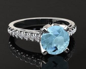 Aquamarine Engagement Ring Aquamarine Ring 14k or 18k White Gold Matching Wedding Band Available W4AQUAW