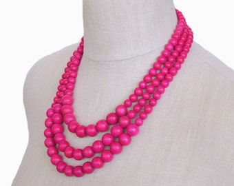 hot pink necklace / 3 strand hot pink beaded necklace / hot pink bridesmaid necklace / chunky necklace / hot pink statement necklace