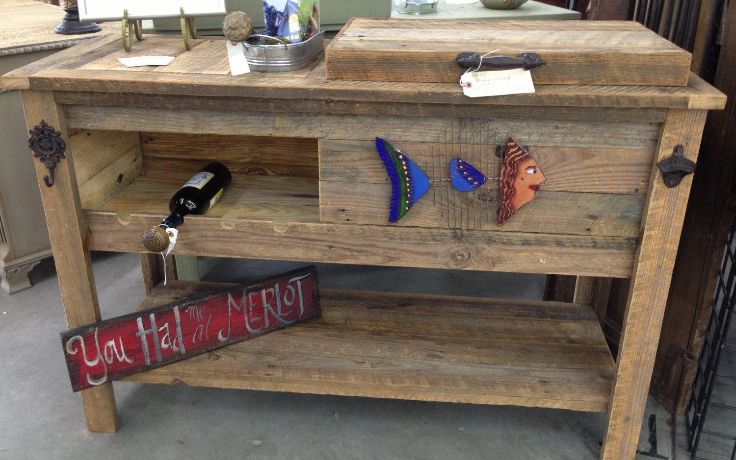 Reclaimed barnwood bar cart cooler cabinet wine bar console