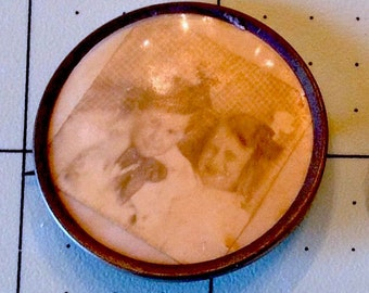 Antique Mourning Brooch 2 CREEPY CHILDREN PARANORMAL 14K gold Pin