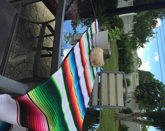 GREAT SALE White Mexican Table Runner, Authentic Serape Fabric Table Cloth  From Mexico, Table