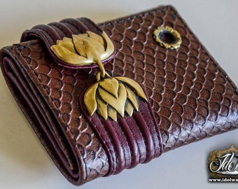 Lotus Tri-Fold Leather Wallet.