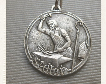 Vintage Saint Eligius French Silver Religious Medal - Patron Jewelers and Metalworkers - pendant jewelry from France