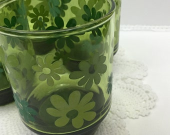 Mod Green 1960's Drinking Glasses