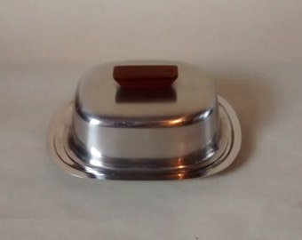 Lundtofte Danish Stainless Steel Butter Dish, Rosewood Handle. Made in Denmark. Teak