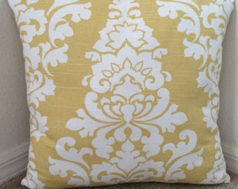 Yellow Floral Pillow Cover, Decorative Safron Yellow/White Pillow Cover, 20''x20''