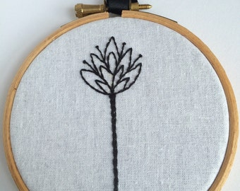 Black Modern Flower Embroidery Hoop Art - style 3