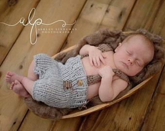 SALE ! Newborn knit dungarees,  Knit dungarees, Dungarees Brown dungarees, Grey dungarees ,Photo prop, Newborn dungarees, Handmade dungarees