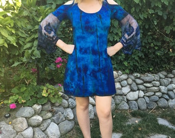 Plus Size Dress, Tie Dye Dress, Plus Size Clothing, Open Shoulder Dress, Dyed Lace Bell Sleeve, Plus Size Fashion, Dyed Blues 2X 3X