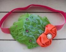 Radiate - Neon Headband - Feather Headband - Bright Coral Lime Green Hot Pink Aqua - Vintage Style Headband - Retro Headband - 80s Headband