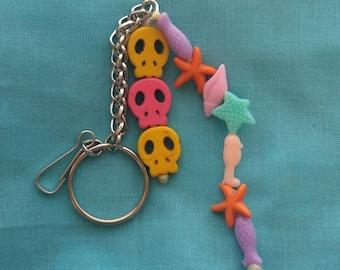 Skull Starfish Shells Fish Keychain
