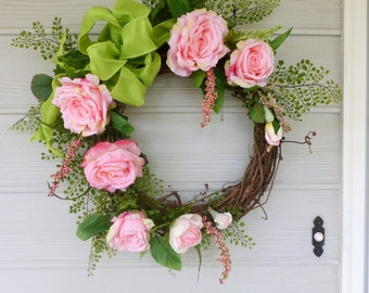 Rose Wreath - Summer wreaths - Wedding Wreaths - Elegant pink roses - Front door decor - Spring Wreaths - wreaths