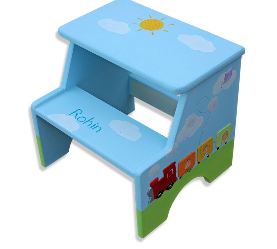 Hand Painted Step Stool Children Furniture Toddler