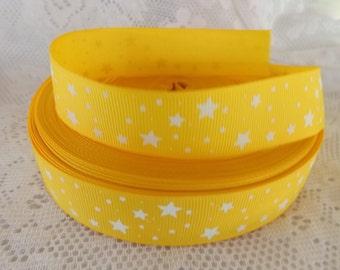 Yellow Star ribbon 1 inch Yellow grosgrain ribbon 25mm star ribbon