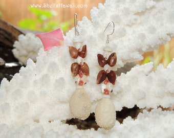 "2"" double strand Hawaiian Granulate cowrie,  Momi & Kahelelani shell earrings"