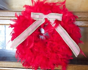 Ready to be shipped! Red feather boa wreath