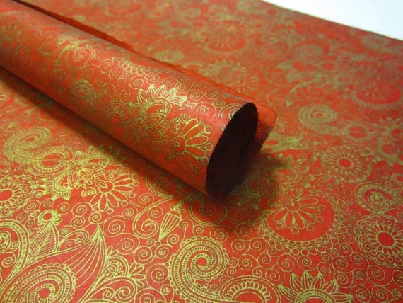 Red Gold Pattern Handmade Lokta Paper Sheet 50x75cm