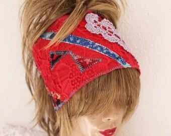 Red Headband, Red Boho Head, Hippie Headband, Wear Red Festival, Red Dread Band, Dread Wrap Women's Christmas gift, Intergalactic Clothing