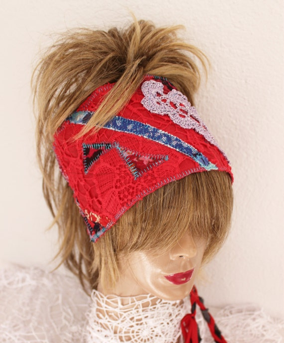 Red Headband Red Boho Head Hippie Headband Wear Red-1875