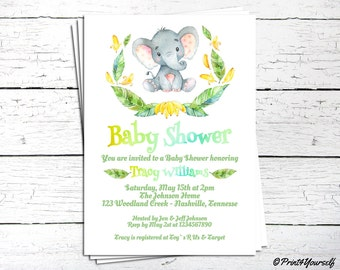 Jungle Baby Shower Invite // Personalized Printable African Elephant Jungle Watercolour Baby Shower Invitation // Elephant Invite