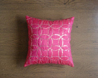 Accent Pillow Cover - Silver Metallic Sequins Embroidered on Dark Pink Art Dupioni Fabric Pillow Case - 16x16 - rd6