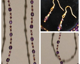 """28"""" purple necklace with earrings"""