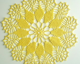 Handmade crochet light yellow doily, yellow lace doily approx. 12 inches, summer doily, Easter doily, spring doily